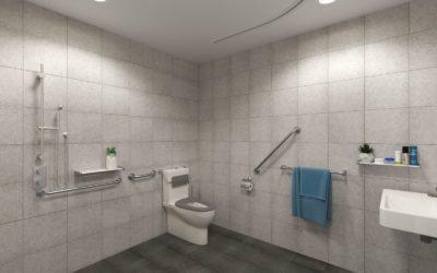 Accessible accommodation U City Adelaide bathroom
